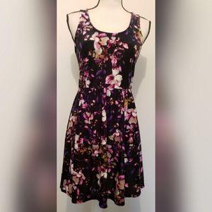 Hot Topic Black Purple Velvet Dress Sleeveless